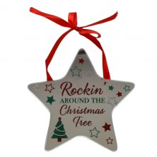 Rockin' Around The Christmas Tree Star Plaque
