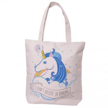 Zipped Unicorn Cotton Shopping/Beach Bag