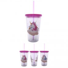 Unicorn Double Walled Cup with Straw & Lid