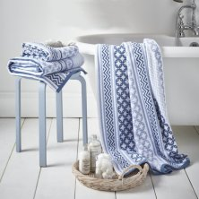 Blue Santorini Jacquard Towels