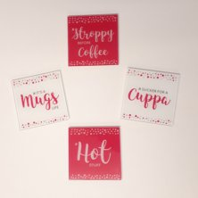 Girl Talk Set of 4 Glass Coasters - Cuppa