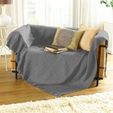 Como Grey Cotton Throw 228 x 254cm