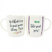 "Set of 2 ""She Said Yes!"" Engagement Mugs"