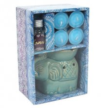 Elephant Oil Burner Gift Set with Candles & Lavender Scented Oil