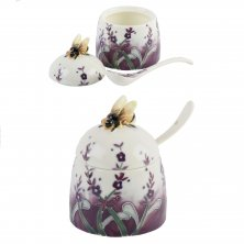 Old Tupton Ware Lavender Pattern Honey Pot & Spoon