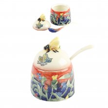 Old Tupton Ware Butterfly Pattern Honey Pot & Spoon