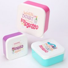 Set of 3 Prosecco Slogan Lunch Boxes