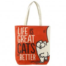 Simon's Cat Life is Great Cat's are Better Cotton Bag