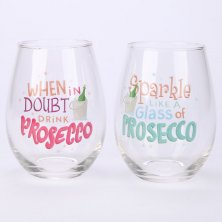 Set of 2 Glass Prosecco Tumblers