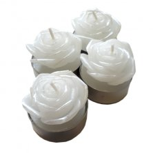 Set of 4 White Rose Tea Light Candles