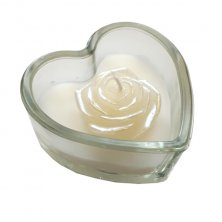 Glass White Rose Heart Candle