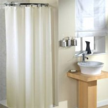 Ceramic Cream Plain Polyester Shower Curtain 220cm x 190cm