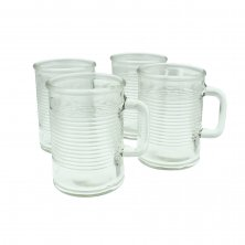 Yorkshire Collection Glass Can Style Mugs 4 Pack