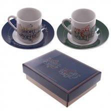 Coffee Slogan Espresso Cup & Saucer Set