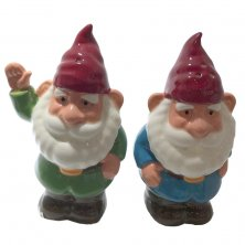 Novelty Gnome Waving Ceramic Salt and Pepper Set