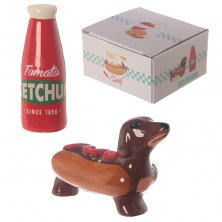 Novelty Sausage Dog Bun And Ketchup Salt & Pepper Set