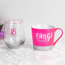 18th Birthday Stemless Glass & Mug