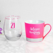 Girl Talk Mug and Stemless Glass - 21 Today & Hangover