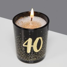 40th Signography Black Glass Candle Gold/Glitter