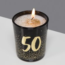 50th Signography Black Glass Candle Gold/Glitter