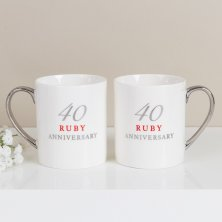 40th Anniversary Set of 2 Bone China Mugs