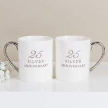 25th Anniversary Set of 2 Bone China Mugs