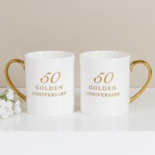 50th Anniversary Set of 2 Bone China Mugs