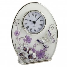 Glass Flowers & Butterfly Oval Clock