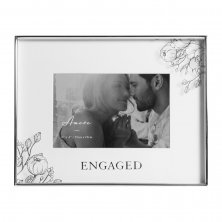 Wedding Photo Frame Silver Foil Floral - Engaged