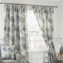 Blue Woodland Pencil Pleat Ready Made Curtains