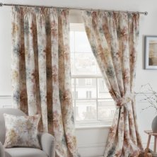 Blush Woodland Pencil Pleat Ready Made Curtains