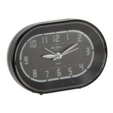 Wm Widdop Black Oval Sweep Alarm Clock with Crescendo Alarm