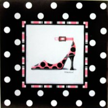 Polka Dot Stiletto Art Canvas Picture Pink and Black