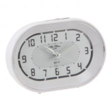 Wm Widdop White Oval Sweep Alarm Clock with Crescendo Alarm