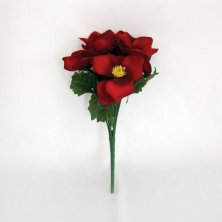 Christmas Red Rose Bush Artificial Flowers