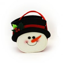 Christmas Snowman with Holly Felt Bag