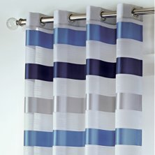 Stirling Eyelet Blue & Silver Voile Panel