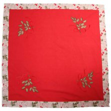 Holly Embroidered Table Topper