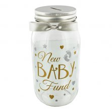 Pennies and Dreams New Baby Fund Glass Money Box