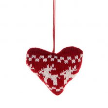 Christmas Nordic Knitted Heart Tree Decoration