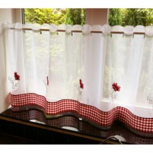 Poppies Voile Cafe Panels