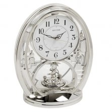 Rhythm Mantel Silver Coloured Oval clock with pendulum