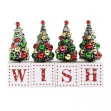 Wish Christmas Trees Mantel Plaque