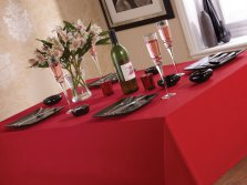 Red Linen Look Easycare Tablecloths