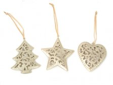 Christmas Hanging Filagree Tree Decorations