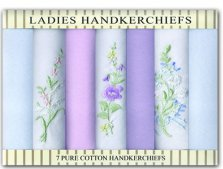 Ladies Embroidered Handkerchiefs 7 Pack
