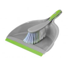 Dustpan and Brush Shine Silver/Lime