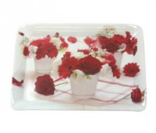 Red Flowers Melamine Scatter Tray