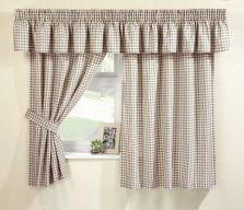 Natural Malvern Gingham Kitchen Curtains