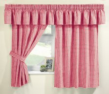 Red Malvern Gingham Kitchen Curtains